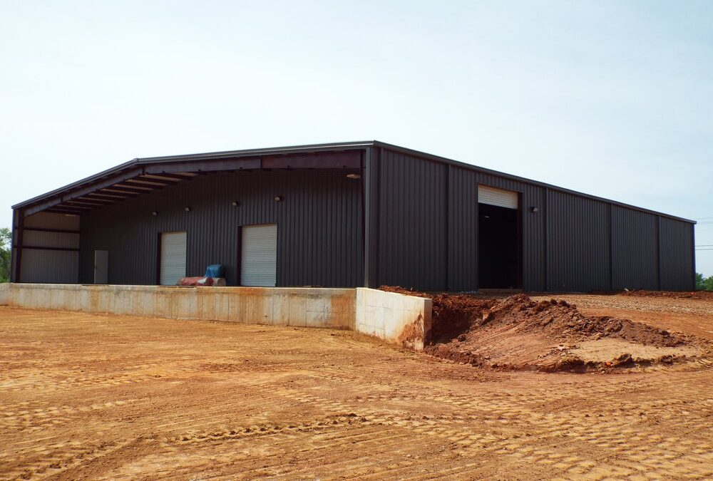 Pre Engineered Metal Building With Covered Outdoor Space, Lighting, And Roll Up Doors