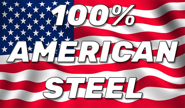 100% American Made Steel Graphic With American Flag Background