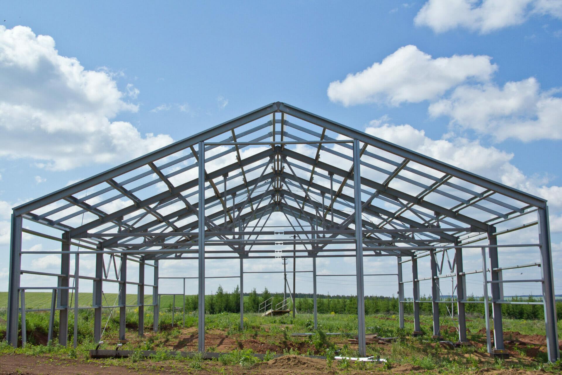Steel building kit frame progress photo