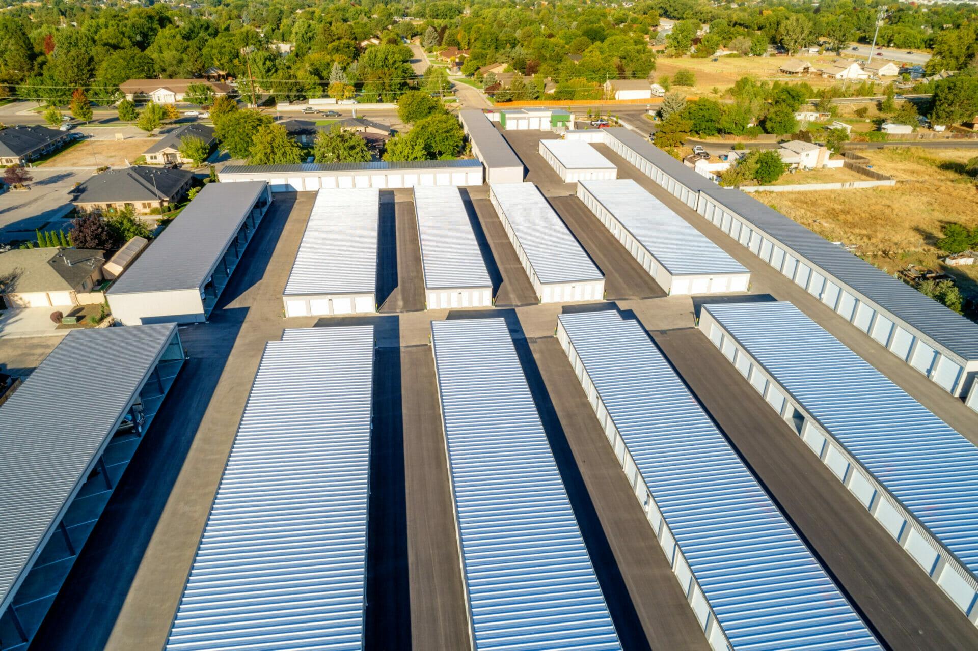 Aerial Shot Of Pre-engineered Metal Mini Storage Unit Complex