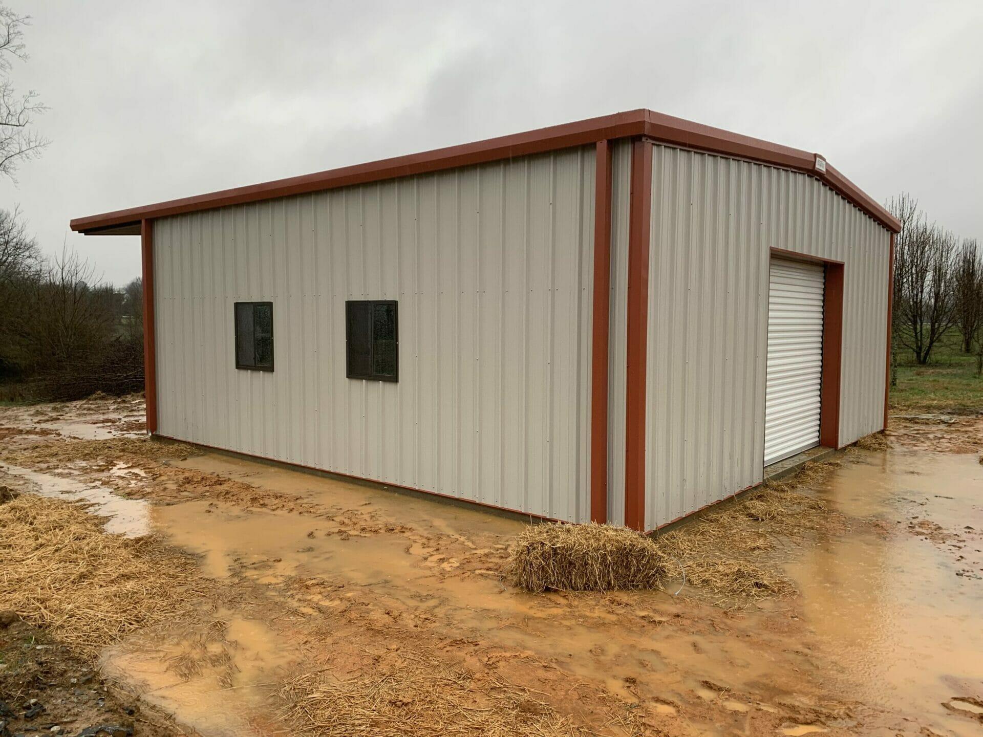 Pre-Engineered Metal Garage Building With Roll Up Garage Door And Windows