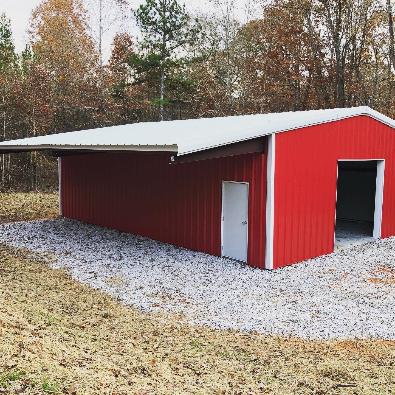 Pre-Engineered Metal Barn With Indoor And Outdoor Storage