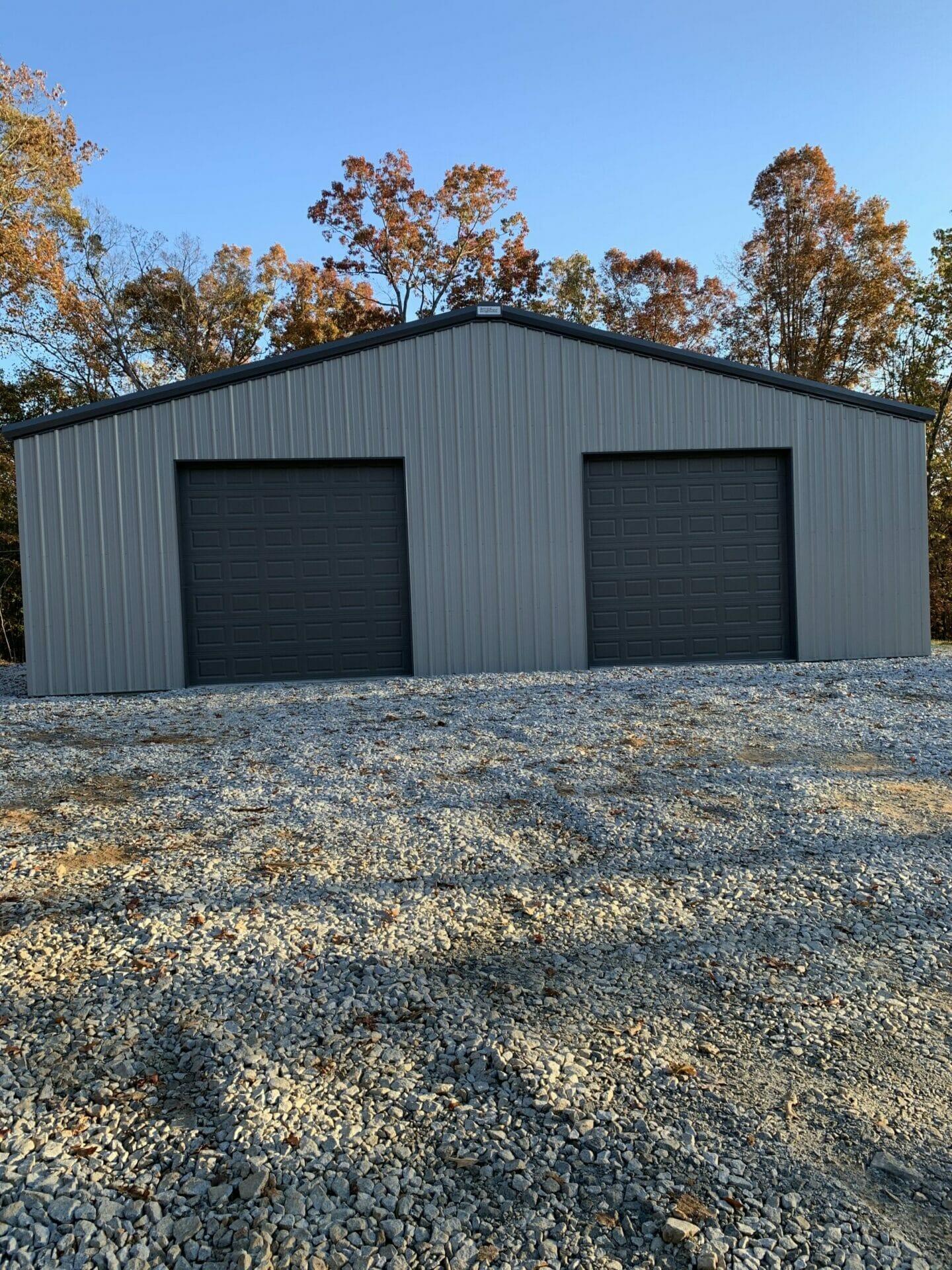 Pre-Engineered Metal 2 Car Garage Building With Roll Up Garage Doors