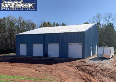 Custom Pre-Engineered Metal Garage Building 5 Bays With Roll Up Garage Doors And Side Entry Door
