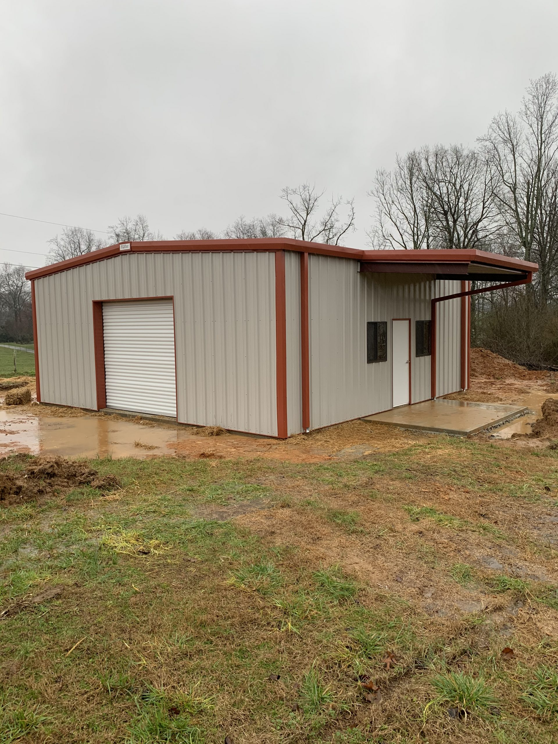Pre-Engineered Metal Building With Custom Windows, Doors, Covered Entry