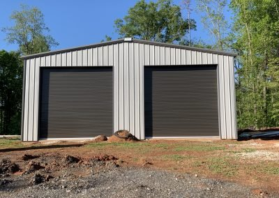 Pre-Engineered Metal 2 Car Garage Building With Roll Up Garage Doors