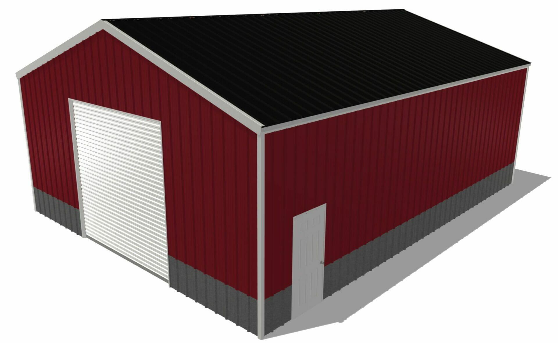 Red 30 by 40 Steel Building With One 10x10 Door And one Standard Walk In Door