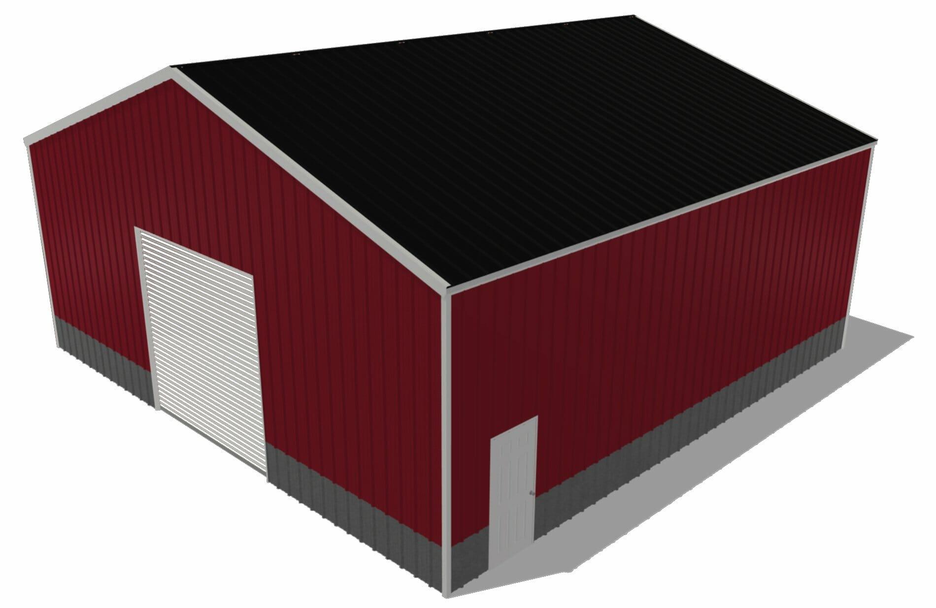 Red 40 by 40 Steel Building With One 10x10 Door And one Standard Walk In Door