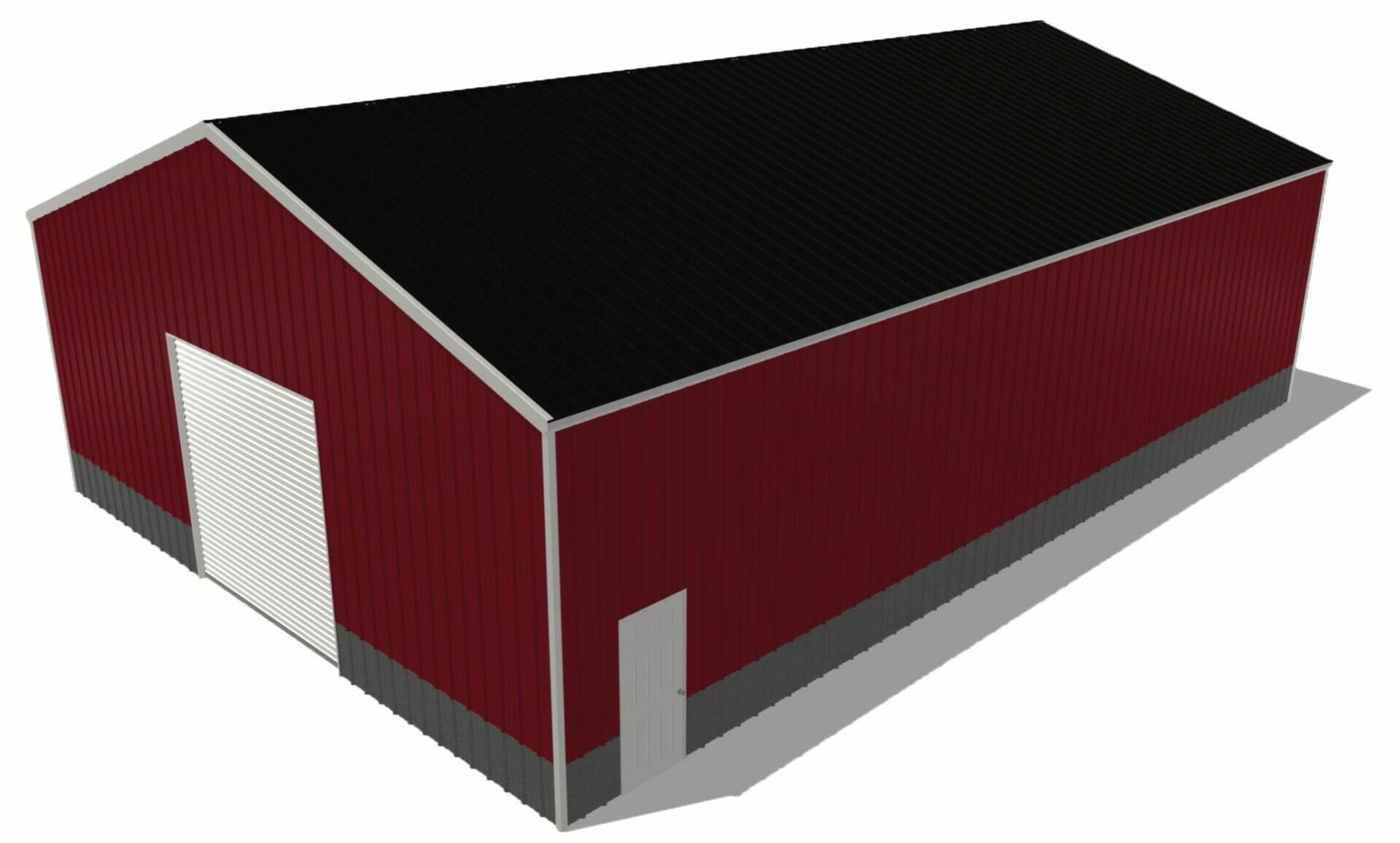 Red 40 by 60 Steel Building With One 10x10 Door And one Standard Walk In Door