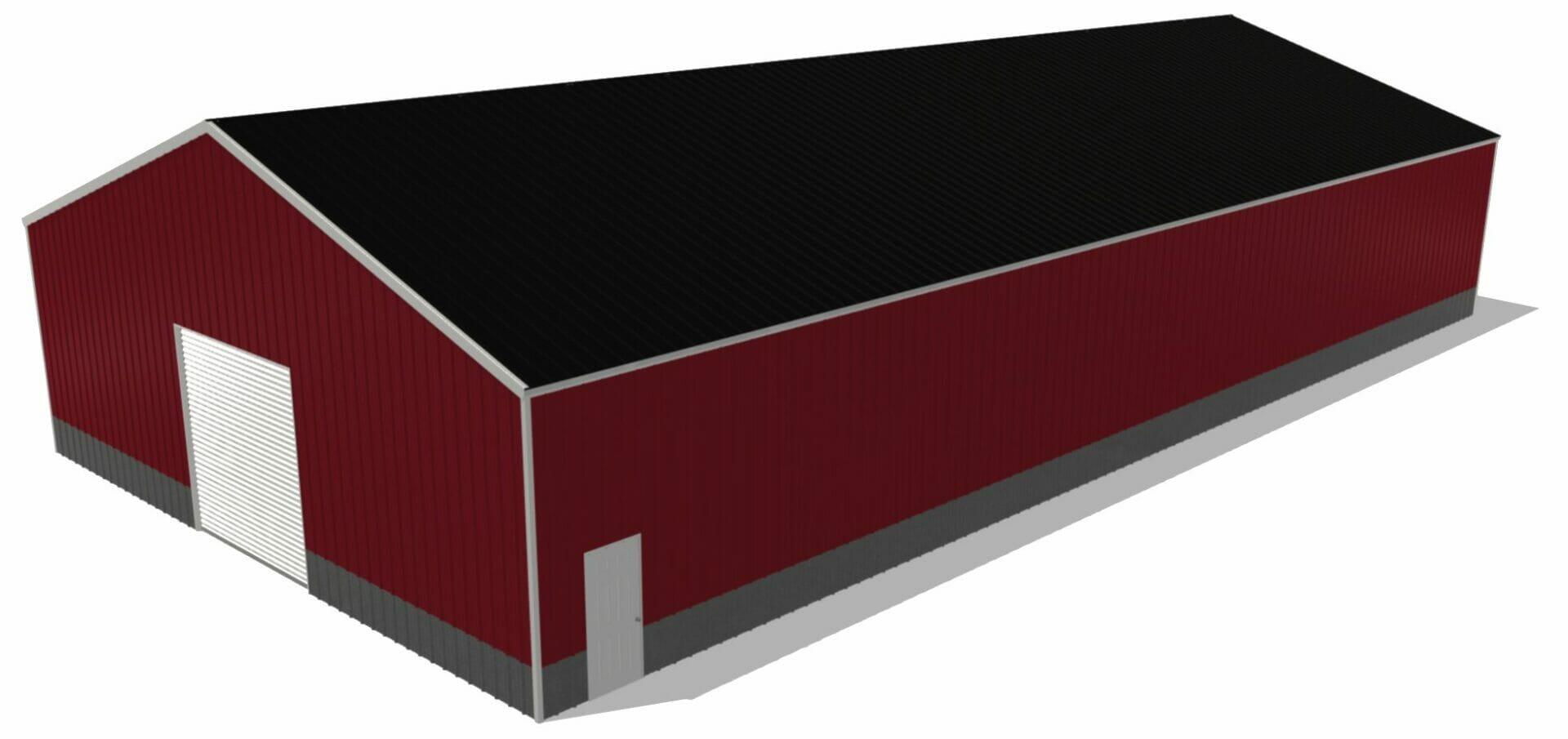 Red 50 by 100 Steel Building With One 10x10 Door And one Standard Walk In Door