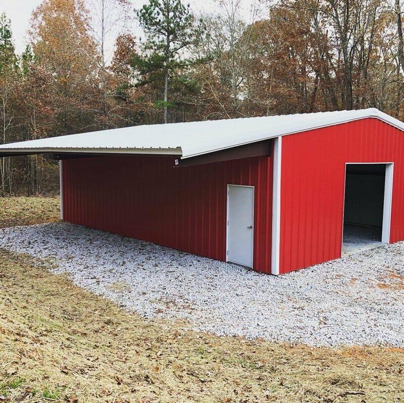 Interior View Of Custom Pre-Engineered Metal Multi-Bay Garage Building With High Clearance Steel Beams