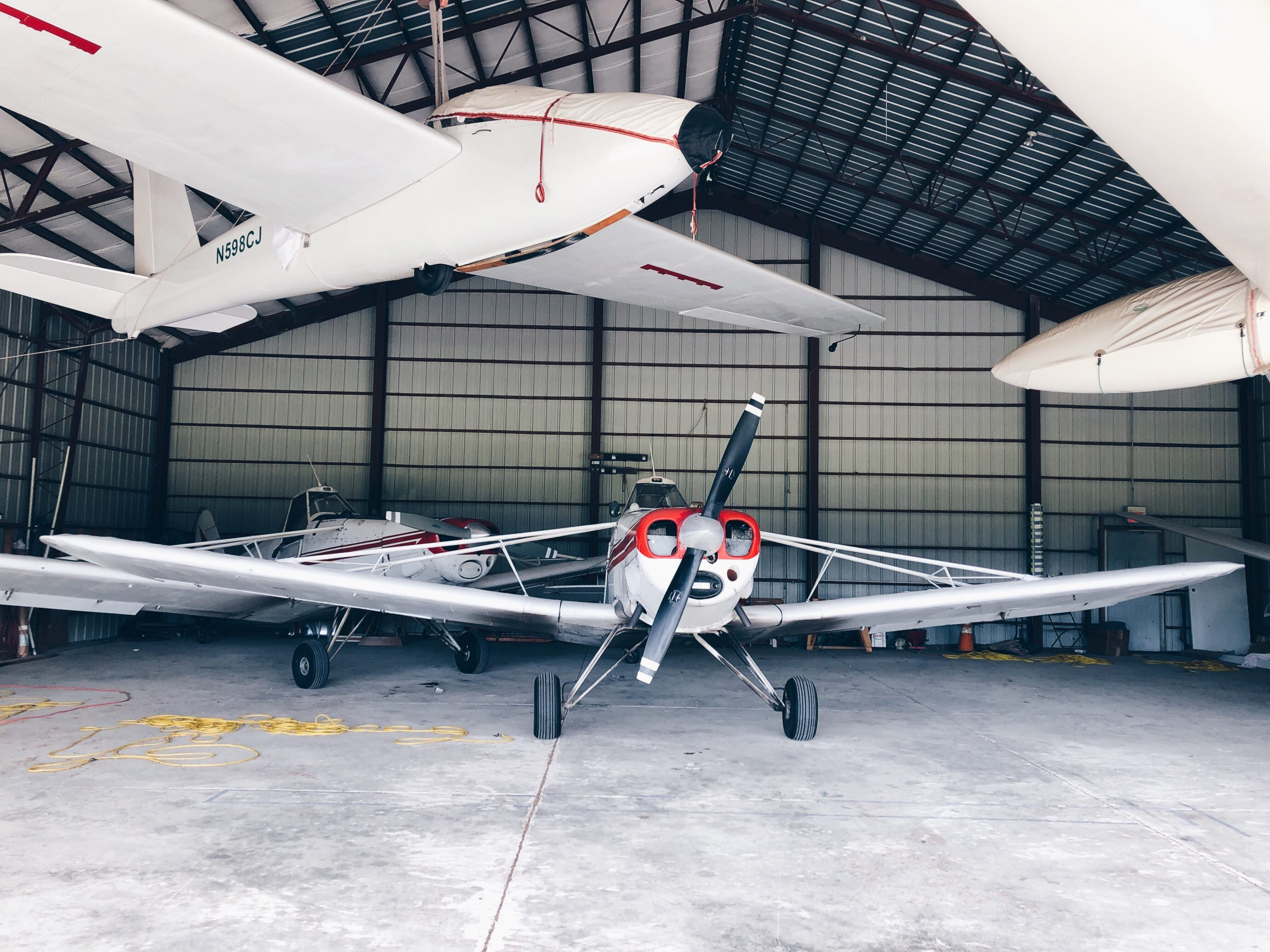 airplane hangar steel building with aircraft